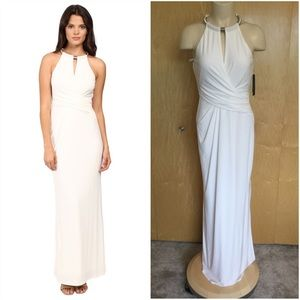 Laundry Segal Matte Jersey Gown w/ Necklace Detail